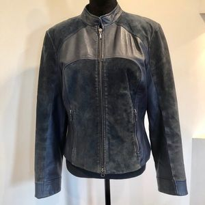 Danier leather and suede zipper front blue jacket